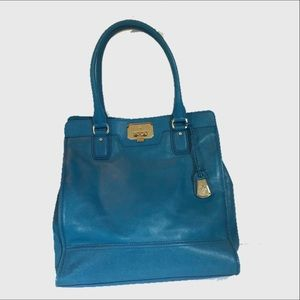 Cole Haan teal blue Large leather tote bag